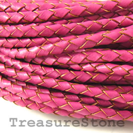 Cord, faux leather, pink, 3mm. Sold per 2-meter section