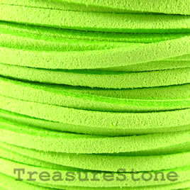 Cord, faux suede lace, green, 3mm. Pkg of 4 meters.
