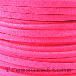 Cord, faux suede lace, hot pink, 3mm. Pkg of 4 meters.