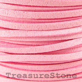 Cord, faux suede lace, pink, 3mm. Pkg of 4 meters.