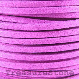 Cord, faux suede lace, purple, 3mm. Pkg of 4 meters.