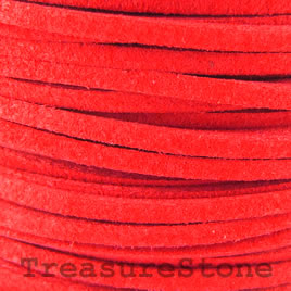 Cord, faux suede lace, red, 3mm. Pkg of 4 meters.