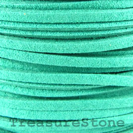 Cord, faux suede lace, turquoise, 3mm. Pkg of 4 meters.