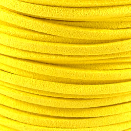 Cord, faux suede lace, yellow, 3mm. Pkg of 4 meters.