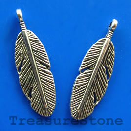 Pendant/charm, 9x25mm feather. Pkg of 6.