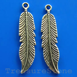 Pendant/charm,silver-finished,11x40mm feather. pkg of 5.