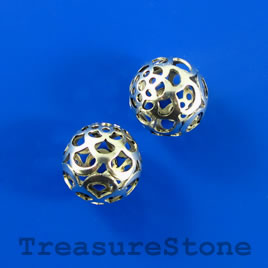 Bead, silver-plated,16mm filigree round. Pkf of 3.