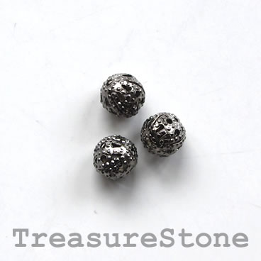 Bead, antiqued black-finished, 6mm filigree round. Pkg of 25