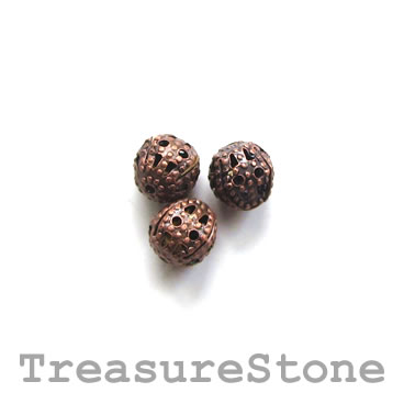 Bead, antiqued copper-finished, 6mm filigree round. Pkg of 25
