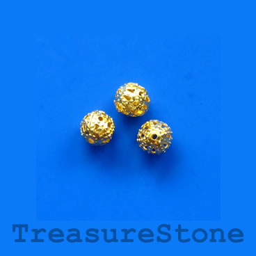 Bead, antiqued gold-finished, 6mm filigree round. Pkg of 25