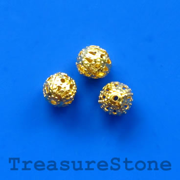 Bead, antiqued gold-finished, 8mm filigree round. Pkg of 20