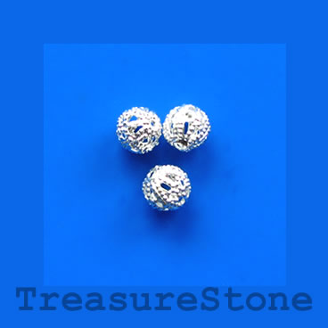 Bead, antiqued silver-finished, 6mm filigree round. Pkg of 25
