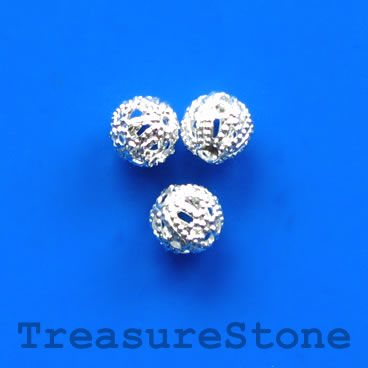 Bead, antiqued silver-finished, 8mm filigree round. Pkg of 20
