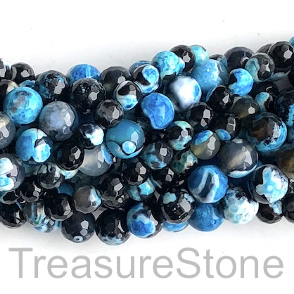 "Bead, fire agate, dyed, blue, 8mm faceted round. 15"", 48pcs"