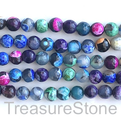 Bead, fire agate, mixed, 8mm faceted round. 14.5-inch, 46