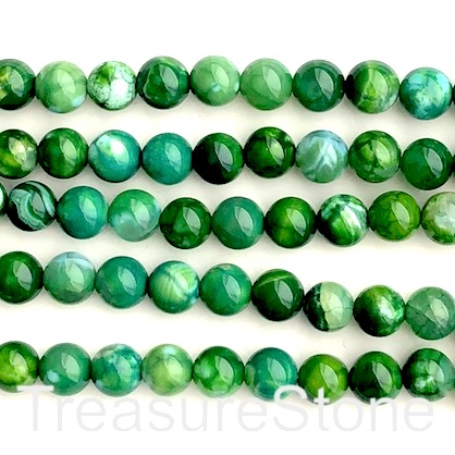 "Bead, fire agate, dyed, green, 8mm round. 15.5"", 48pcs"