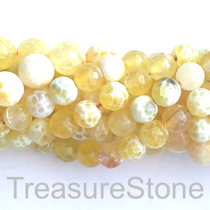 Bead, fire agate, lemon yellow, 10mm faceted round. 15-inch, 37