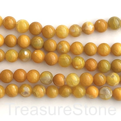 "Bead, fire agate, dyed, yellow, 8mm round. 15.5"", 48pcs"