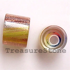 Bead, Fire Design cane glass, about 10x10mm round tube. Pkg of 3