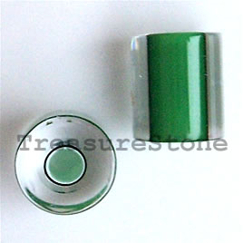 Bead, Fire Design cane glass, green about 10x9mm tube. Pkg of 3.