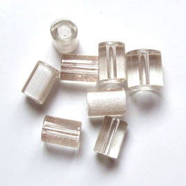Bead, Fire Design cane glass, clear with sparkle 8x10mm.Pkg of 3