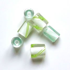 Bead, Fire Design cane glass,green stripe,about 7x10mm. Pkg of 3