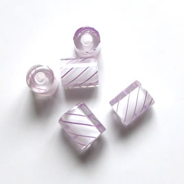 Bead, Fire Design cane glass, purple stripe, 7x10mm. Pkg of 3