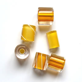 Bead, Fire Design cane glass, yellow,about 7x10mm tube. Pkg of 3
