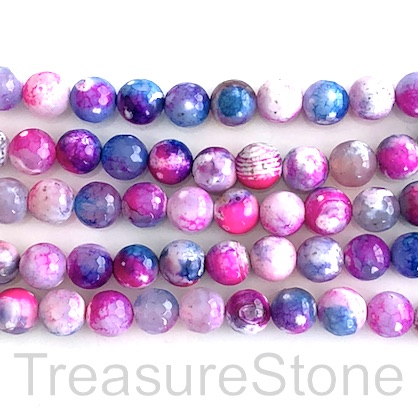 "Bead, fire agate, dyed, pink blue, 8mm faceted round. 15"", 48pcs"