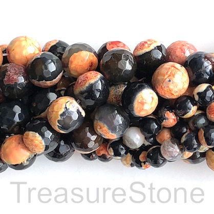 "Bead, fire agate, orange, 6mm faceted round, grade B. 15"", 60pcs"