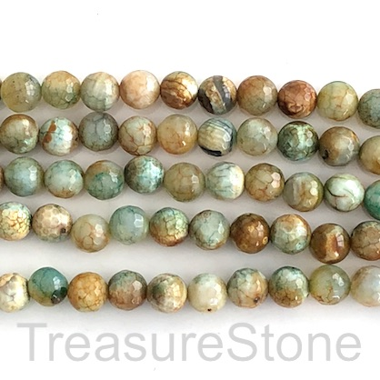 "Bead, fire agate, dyed, green brown, 8mm faceted round. 15"", 48"