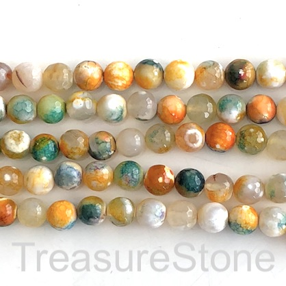 "Bead, fire agate, dyed, green orange, 8mm faceted round. 15"", 48"
