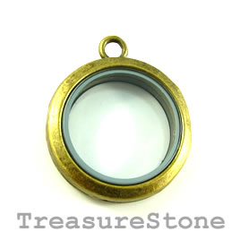 Floating Locket Pendant, brass colored,30mm. Each