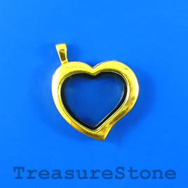 Floating Locket Pendant, gold colored, 30mm heart. Each