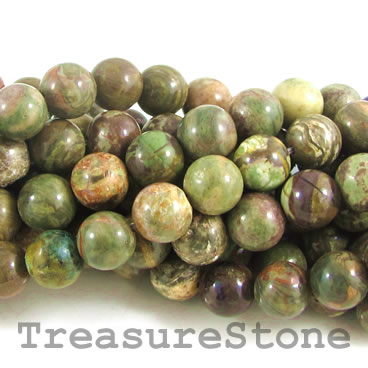Bead, flower agate, 8mm round. 15.5-inch strand.
