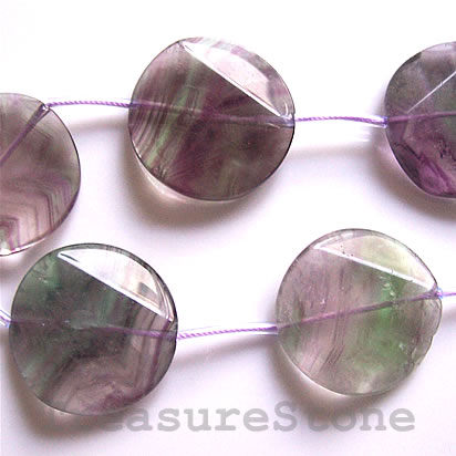 Bead, fluorite, 30x8mm faceted flat round. 16 inch strand.