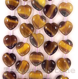 Bead, yellow fluorite, 20mm heart. 15 pcs