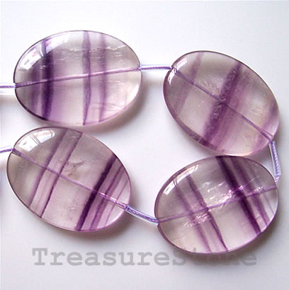 Bead, purple fluorite, 28x38mm flat oval. 8pcs.
