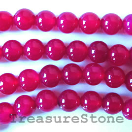 Bead, fuchsia agate(dyed), round, 8mm. 16-inch strand