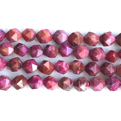 Bead, crazy lace agate,fuchsia,dyed,7x8mm, star cut,15.5 inch,49