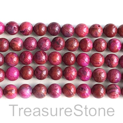 Bead, fushia crazy lace agate, dyed, 8mm round. 15.5 inch, 49pcs