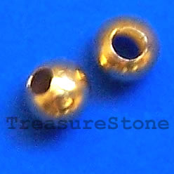 Bead, gold-colored, 2.4mm round, pkg of 200 pcs