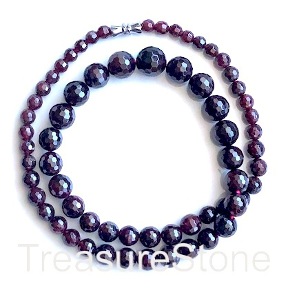 Bead/necklace, garnet, 4-12mm faceted round. 19 inch.