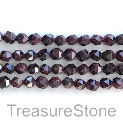 Bead, garnet, 7x8mm faceted nugget, star cut. 15.5-inch, 50pcs