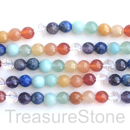 Bead, rainbow, chakra gemstones, 6mm faceted round. 15 inch, 60