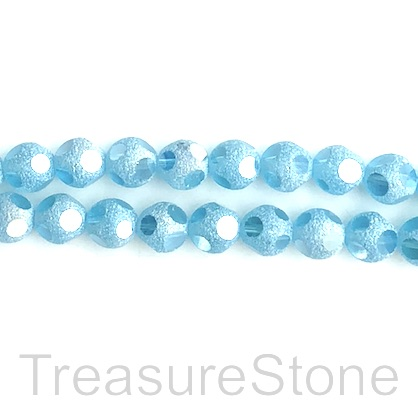 Bead, glass, 8mm faceted round, light blue. 11 inch, 34pcs