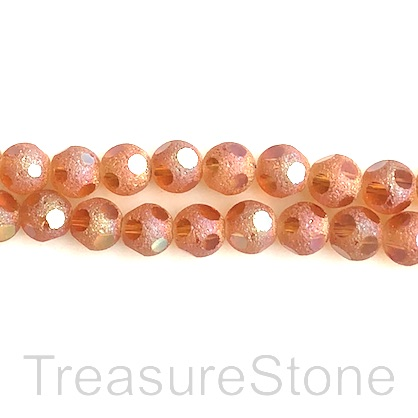 Bead, glass, 8mm faceted round, orange. 11 inch, 34pcs