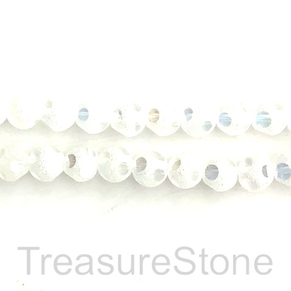 Bead, glass, 8mm faceted round, white. 11 inch, 34pcs