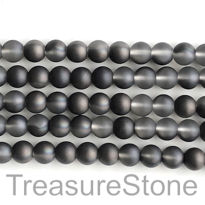 "Bead, glass, 8mm round, black shade, matte, frosted. 16"", 52pcs"