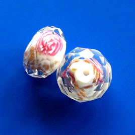 Bead, glass, faceted, 9x13mm rondelle. Pkg of 6.